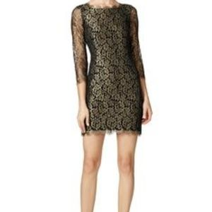EUC DVF Zarita Black and Gold Lace Dress - Size 4